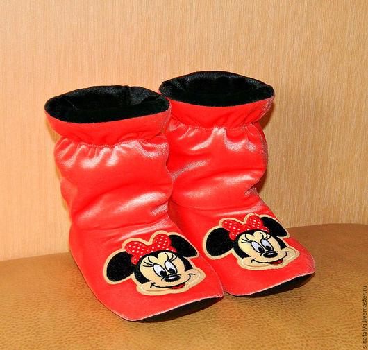 """Обувь ручной работы. Ярмарка Мастеров - ручная работа. Купить Домашние Сапожки """"Минни Маус"""". Handmade. Рыжий, велюр"""