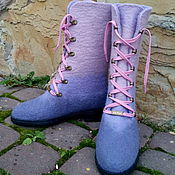 Обувь ручной работы. Ярмарка Мастеров - ручная работа Сапожки шерстяные подростковые Сирень. Handmade.