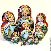 Русский стиль ручной работы. Ярмарка Мастеров - ручная работа Матрешка 10-ти местная с пейзажем. Handmade.