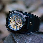 """ручной работы. Ярмарка Мастеров - ручная работа Часы механические наручные """"Granat Black"""". Handmade."""