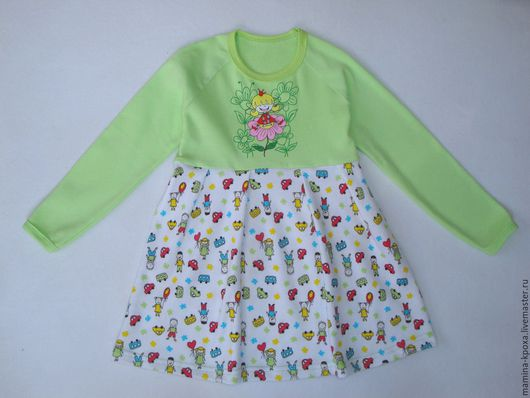 """Одежда для девочек, ручной работы. Ярмарка Мастеров - ручная работа. Купить Платье """"Веселые детки"""". Handmade. Салатовый, рибана с лайкрой"""