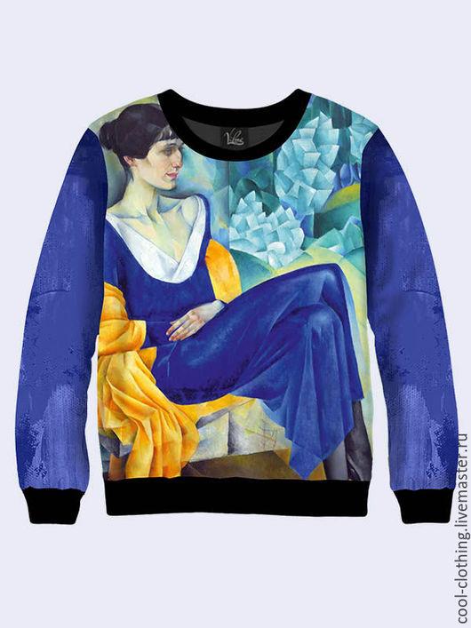 Кофты и свитера ручной работы. Ярмарка Мастеров - ручная работа. Купить Свитшот Анна Ахматова. Handmade. Синий, свитшот женский