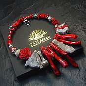 Украшения handmade. Livemaster - original item Necklace of coral and quartz drusas