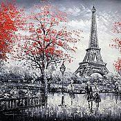 Картины и панно ручной работы. Ярмарка Мастеров - ручная работа Париж. Вид на Эйфелеву башню. Красно-черная версия N2. Handmade.