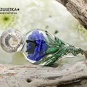 Украшения manualidades. Livemaster - hecho a mano Flor azul-colgante flor lampwork-plata de ley 925. Handmade.
