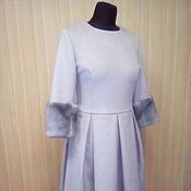 Одежда ручной работы. Ярмарка Мастеров - ручная работа Теплое платье с меховыми манжетами. Handmade.
