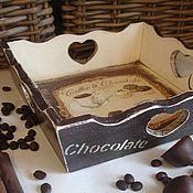 """Для дома и интерьера ручной работы. Ярмарка Мастеров - ручная работа Поднос """"Coffe&Chocolate"""". Handmade."""
