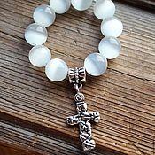 Фен-шуй и эзотерика handmade. Livemaster - original item Rosary pectoral made of natural cat`s eye stones. Handmade.