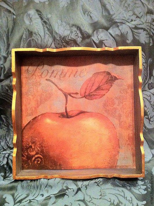 """Кухня ручной работы. Ярмарка Мастеров - ручная работа. Купить Поднос """"Золотое яблоко"""". Handmade. Поднос, поднос для завтрака, старение"""