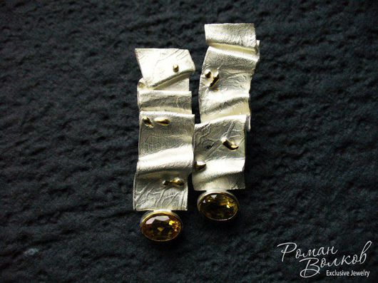 Серьги ручной работы. Ярмарка Мастеров - ручная работа. Купить серебряные серьги. Handmade. Комбинированный, серьги с камнями, цитрин