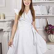 "Dresses handmade. Livemaster - original item White polka dot dress ""Sirena-midi"". Handmade."