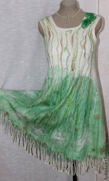 Платья ручной работы. Ярмарка Мастеров - ручная работа. Купить Платье валяное на  Маргиланском  шёлке «Ах это лето!». Handmade.