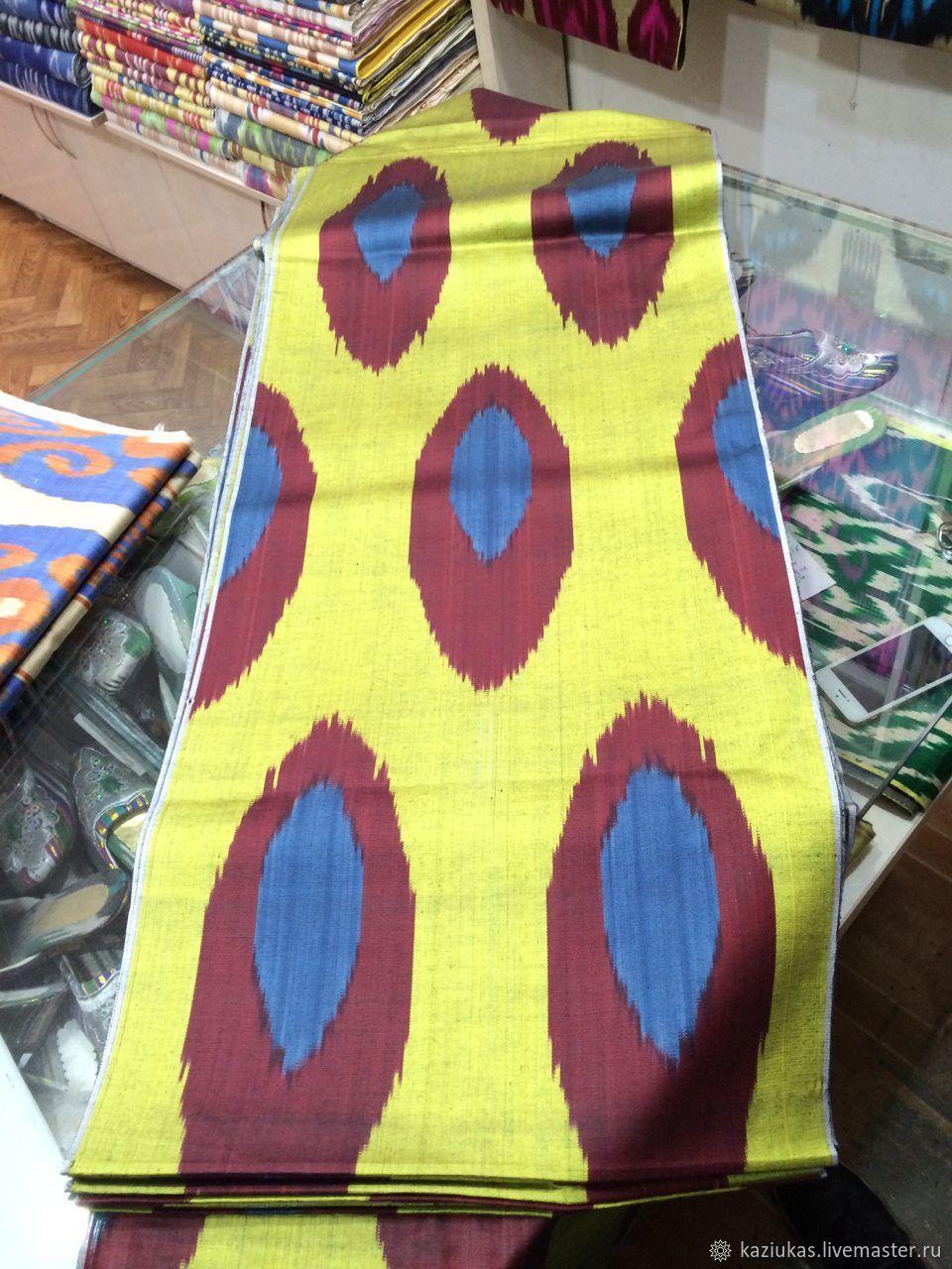 Uzbek silk ikat. The cloth hand weaving of Adras. ST014, Fabric, Odintsovo,  Фото №1
