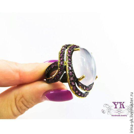 Кольца ручной работы. Ярмарка Мастеров - ручная работа. Купить Эффектный перстень из серебра и розового кварца. Handmade. Бледно-сиреневый