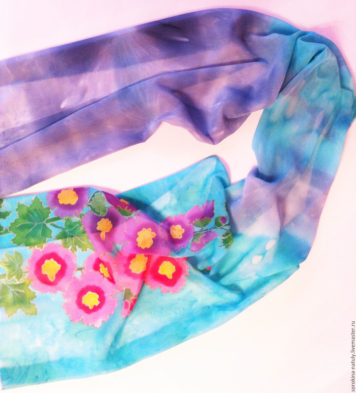 Scarf women's batik `are My favorite mallow ` silk chiffon Fair masters Handmade 100% silk woman Gift Gift girl Batik scarf and Batik scarves shawl Scarf female Silk