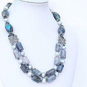Украшения handmade. Livemaster - original item Necklace rutilated quartz, labradorite and pearls. Handmade.