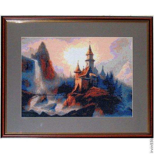 """Пейзаж ручной работы. Ярмарка Мастеров - ручная работа. Купить картина """"Таинственный замок"""". Handmade. Вышивка, Вышивка крестом, замок"""