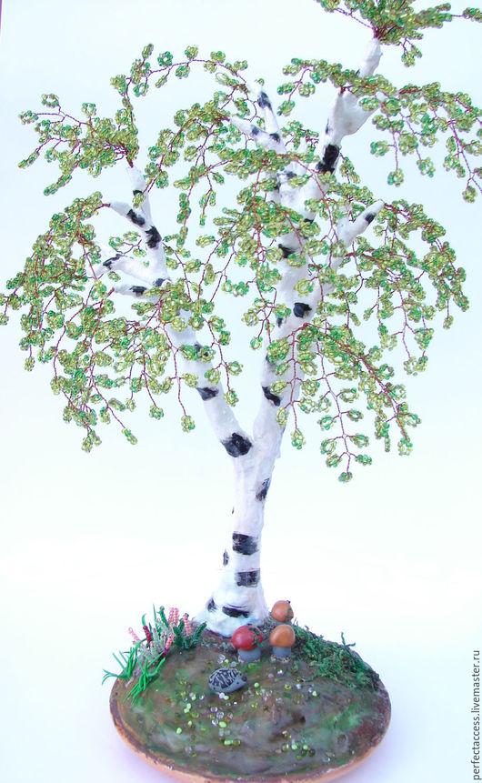 Деревья ручной работы. Ярмарка Мастеров - ручная работа. Купить Дерево из бисера. Береза.. Handmade. Салатовый, деревья ручной работы