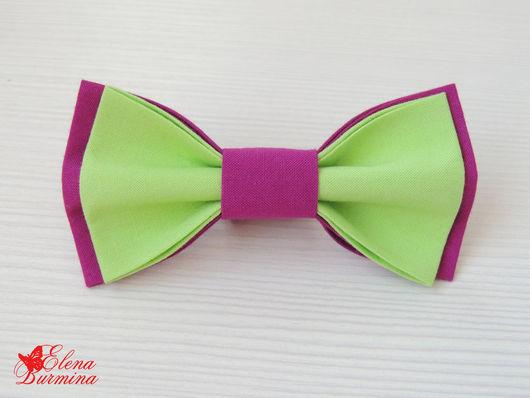 Галстуки, бабочки ручной работы. Ярмарка Мастеров - ручная работа. Купить Бабочка галстук лилово-зеленая, хлопок. Handmade. Салатовый