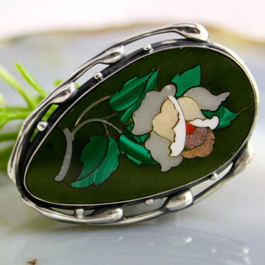 """Кольца ручной работы. Ярмарка Мастеров - ручная работа. Купить Кольцо """"Скарлетт"""" - флорентийская мозаика, серебро. Handmade. роза"""
