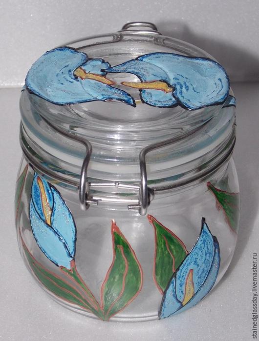 Баночки для кухни с голубыми и розовыми цветами роспись по стеклу художник Екатерина Макарова
