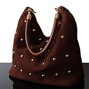 Сумки и аксессуары handmade. Livemaster - original item Brown Suede Bag with Decor, Hobo Bag. Handmade.