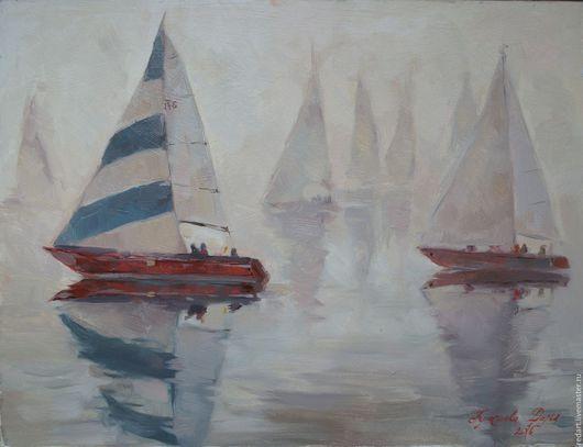 Пейзаж ручной работы. Ярмарка Мастеров - ручная работа. Купить Паруса. Handmade. Серый, лодка, парусник, корабль, картина, туман