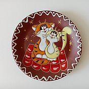 Посуда handmade. Livemaster - original item Ceramic saucer handmade: Cats on the roof. Handmade.