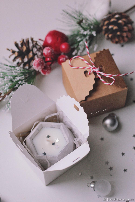 Соевая свеча в бетоне с новогодним ароматом в подарочной коробочке, Свечи, Санкт-Петербург,  Фото №1