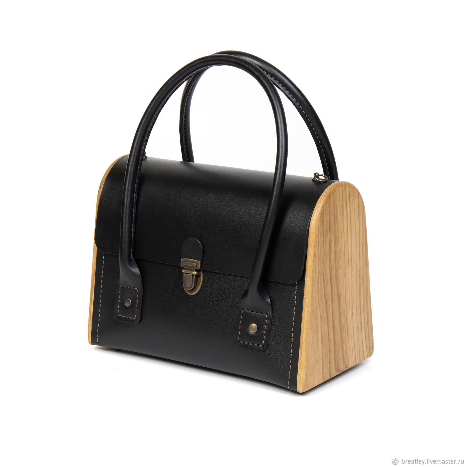 Classic bag - CEILI-made of genuine black leather and wood, Classic Bag, Moscow,  Фото №1