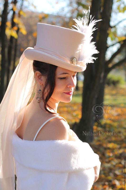 """Шляпы ручной работы. Ярмарка Мастеров - ручная работа. Купить Свадебный цилиндр """"Mariage d'automne"""" (Осенняя свадьба). Handmade. Бежевый"""