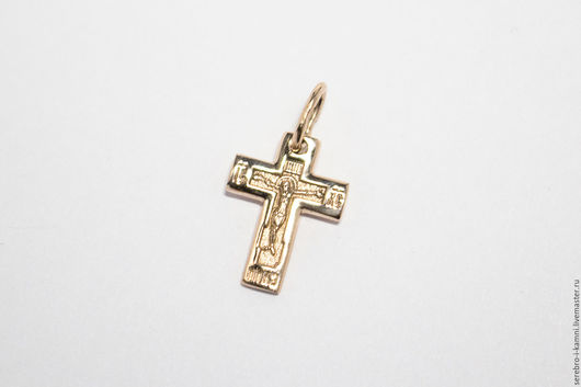 Кулоны, подвески ручной работы. Ярмарка Мастеров - ручная работа. Купить Маленький православный золотой крестик (585 пробы). Handmade.