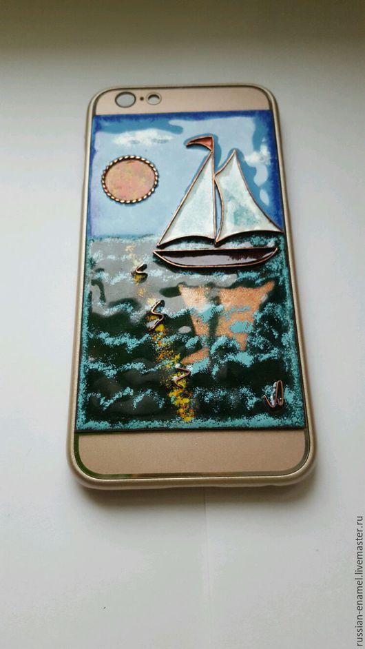 """Персональные подарки ручной работы. Ярмарка Мастеров - ручная работа. Купить Чехол для iPhone 5/5s/6/6s/6+ - """"Кораблик"""". Handmade. Кораблик из эмали"""
