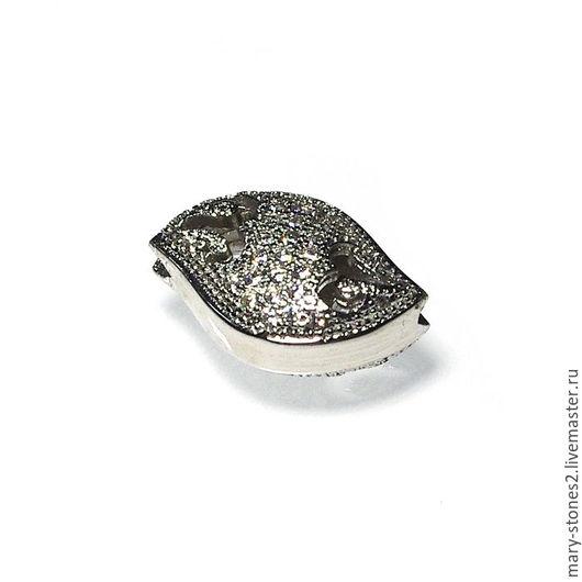 Для украшений ручной работы. Ярмарка Мастеров - ручная работа. Купить Бусина ажурная с фианитами, серебро (Milano). Handmade.