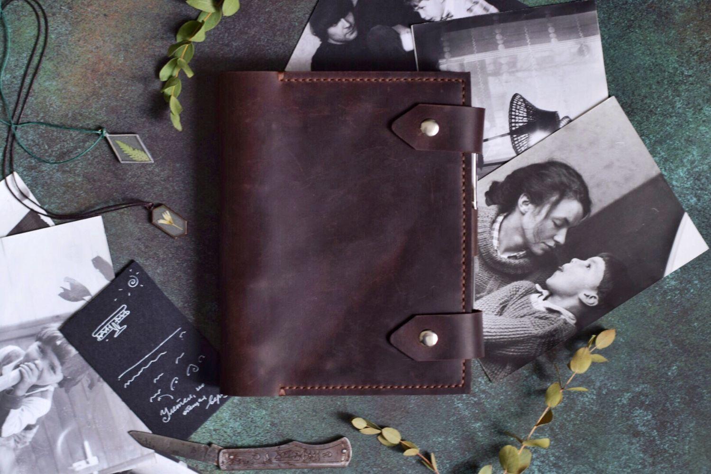 Кожаный блокнот на кольцах с карманами пришитыми ручным швом формат А5, Блокноты, Москва,  Фото №1