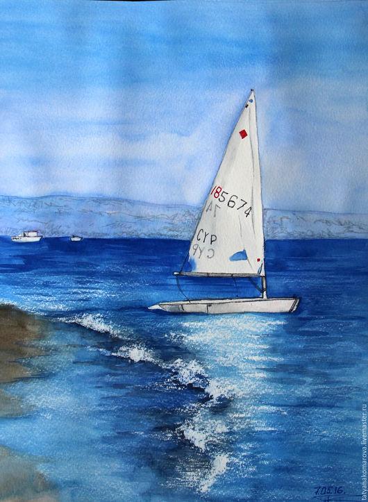 """Пейзаж ручной работы. Ярмарка Мастеров - ручная работа. Купить Акварельная картина """"На волнах"""". Handmade. Синий, акварельный рисунок"""