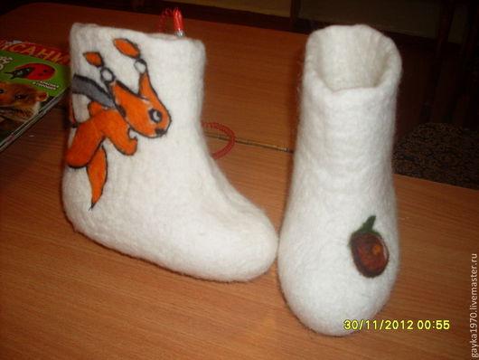 """Детская обувь ручной работы. Ярмарка Мастеров - ручная работа. Купить Валенки """" Белка олимпийская"""". Handmade. Белый, орех"""