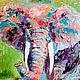 """Животные ручной работы. Ярмарка Мастеров - ручная работа. Купить Картина со слоном """"Мудрые Глаза"""" (масло, холст). Handmade."""