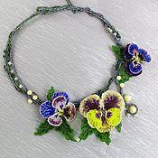 Украшения handmade. Livemaster - original item Flower necklace Yellow accent. (beaded necklace). Handmade.