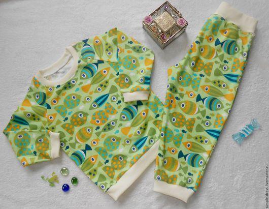Одежда унисекс ручной работы. Ярмарка Мастеров - ручная работа. Купить Пижама детская Рыбки салатовая. Handmade. Комбинированный, пижама