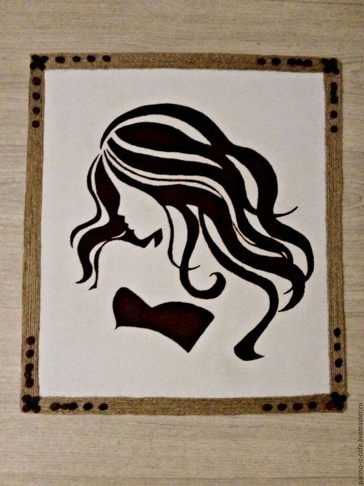 """Люди, ручной работы. Ярмарка Мастеров - ручная работа. Купить Картина панно из молотого кофе """"Девушка-загадка"""". Handmade. Комбинированный"""