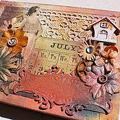 Канцелярские товары ручной работы. Ярмарка Мастеров - ручная работа Винтажный блокнот коралловый. Handmade.