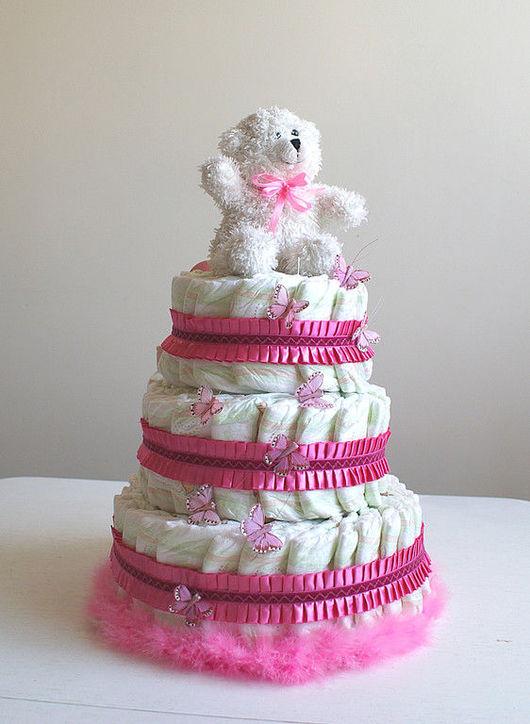 """Подарки для новорожденных, ручной работы. Ярмарка Мастеров - ручная работа. Купить Торт из подгузников """"Бабочки"""". Handmade. Торт из памперсов"""