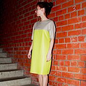 Одежда handmade. Livemaster - original item Leather dress lemon and beige colors. Handmade.