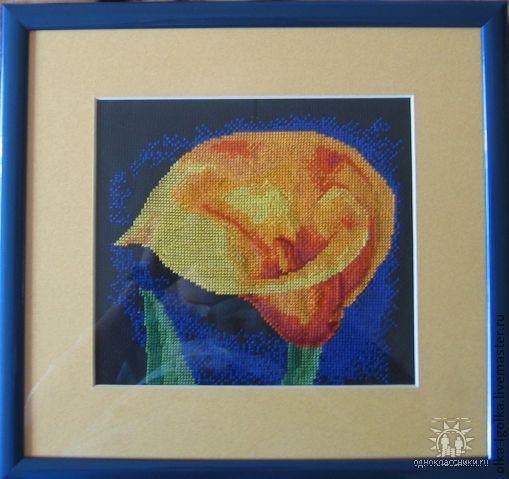 """Картины цветов ручной работы. Ярмарка Мастеров - ручная работа. Купить Вышитая картина """"Желтый цветок"""". Handmade. Желтый, цветок"""