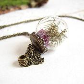 Украшения handmade. Livemaster - original item Transparent Sphere Ball Pendant with Thistle Real Flowers Decoration. Handmade.