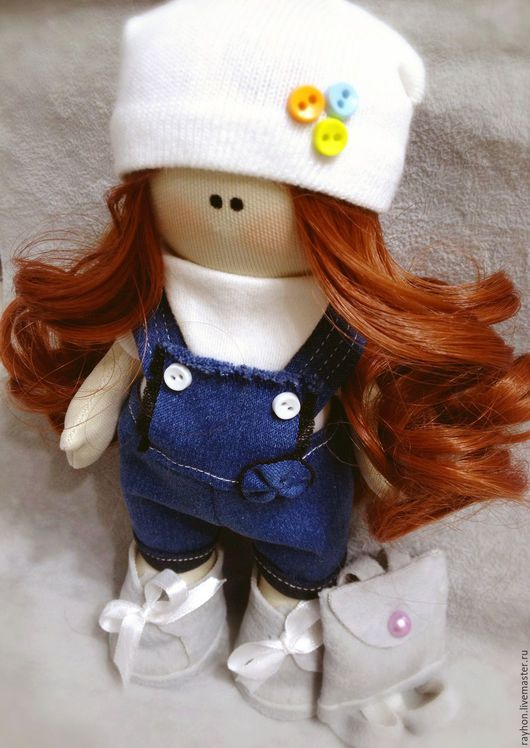 Портретные куклы ручной работы. Ярмарка Мастеров - ручная работа. Купить Текстильная кукла. Handmade. Рыжий, большеногая кукла, хлопок