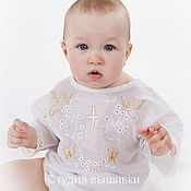 Работы для детей, handmade. Livemaster - original item Baptismal shirt: Baptismal shirt Golden Angels. Handmade.