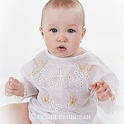 Работы для детей, handmade. Livemaster - original item Baptismal shirt: Baptismal shirt Golden Angels. Handmade.