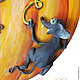 """Часы для дома ручной работы. Заказать Часы с маятником """"Тыква с мышатами"""". Ольга Щетинина (Olga Rainbow). Ярмарка Мастеров."""